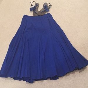 "Ladies longer length sapphire blue ""gauzy"" skirt."